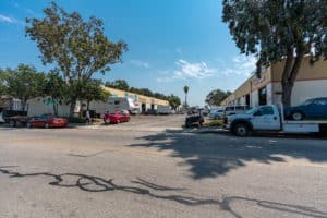 street side of parking and garage at Industrial Condos for Sale in Oxnard, CA